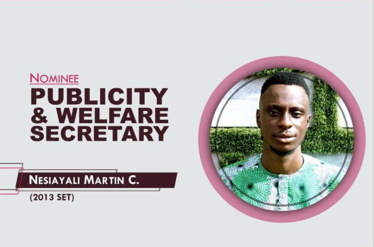 Publicity and Welfare Secretary - 2021-2023 - Martin Nesiayali